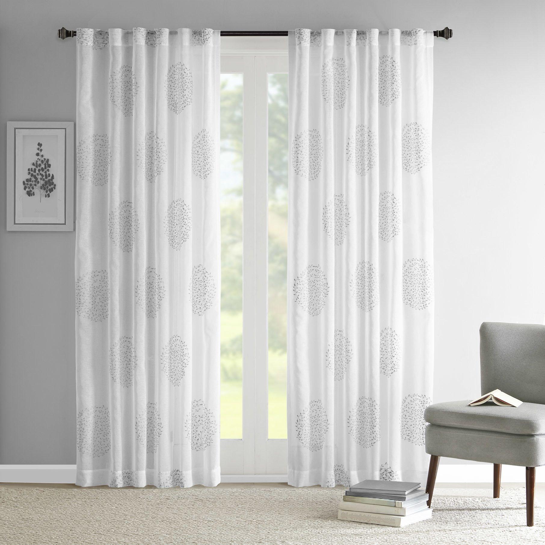 Bridget Flocking Single Window Panel Panel Curtains Curtains