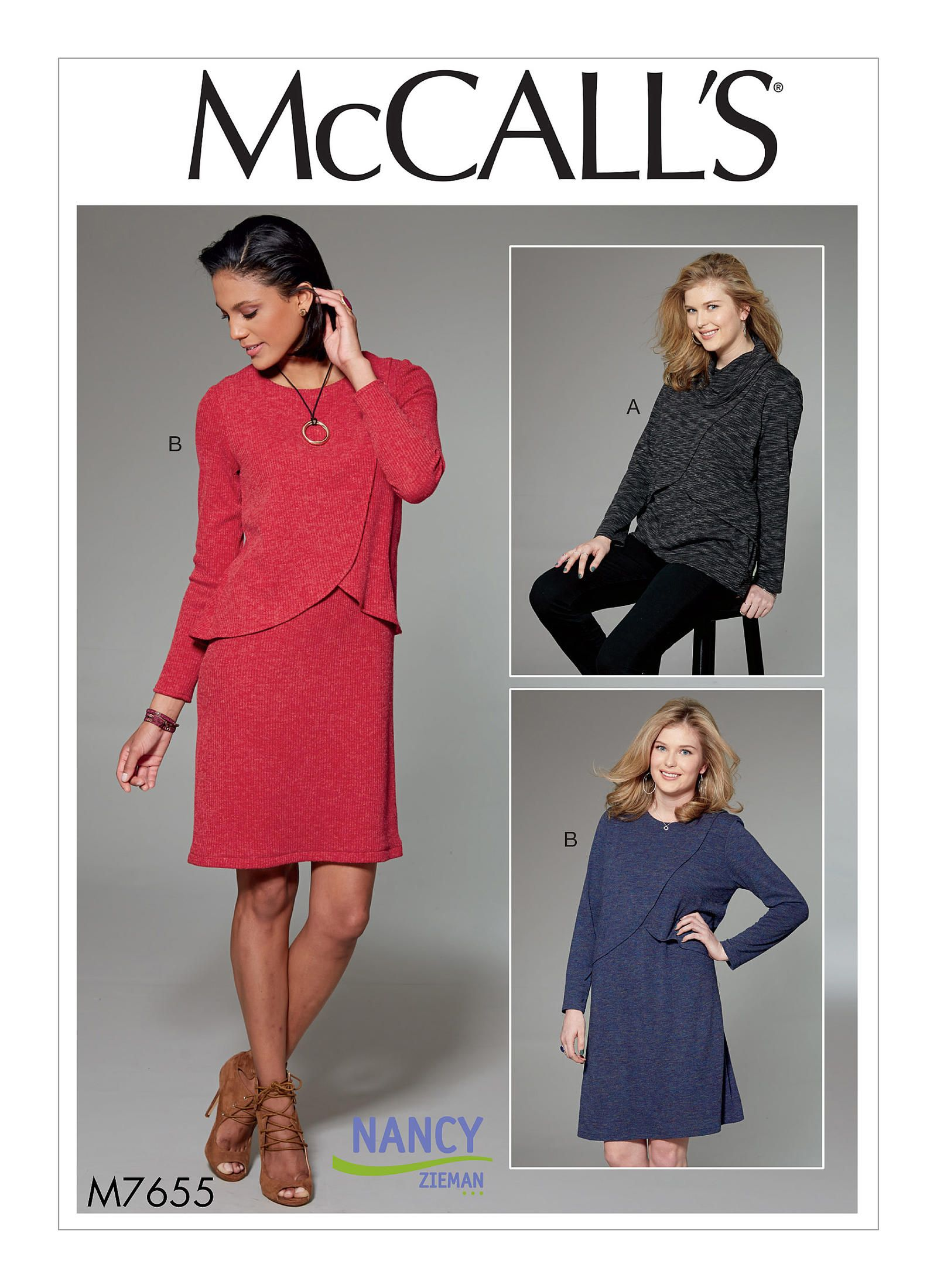 Sew a knit overlay tunic or dress nancy zieman overlay and tunics knit overlay tunic dress mccall pattern company m7655 by nancy zieman sewing with jeuxipadfo Image collections