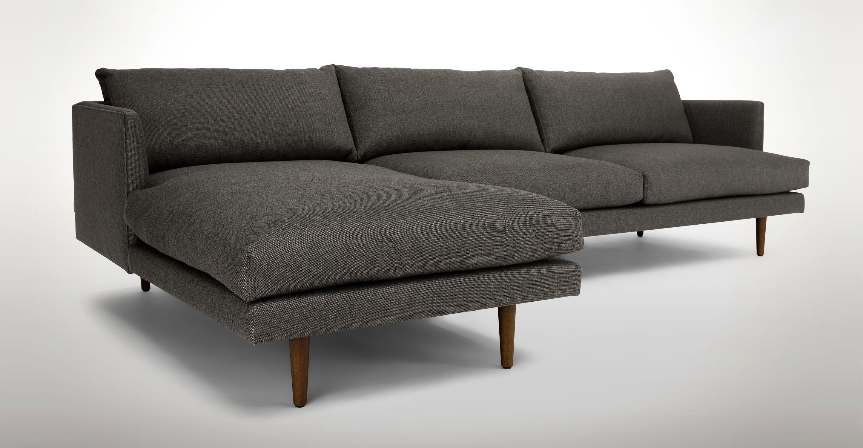 Dark Gray Left Sectional Sofa Upholstered