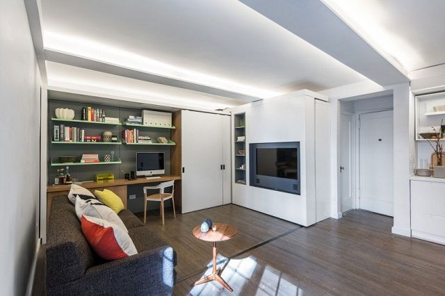 The Five to One Apartment: Micro-Home containing the functional and spatial elements within a compact 390 Sf