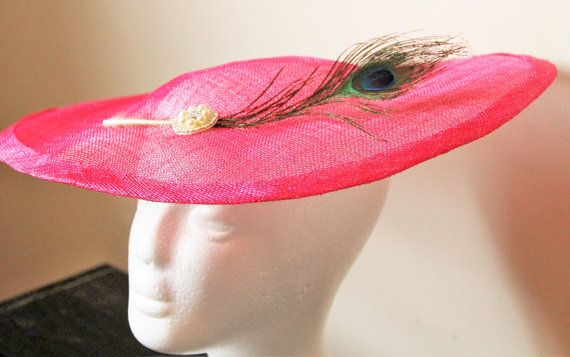 Bright Pink Fascinator Hat With Pea Feather Teardrop Wedding Hot Cerise