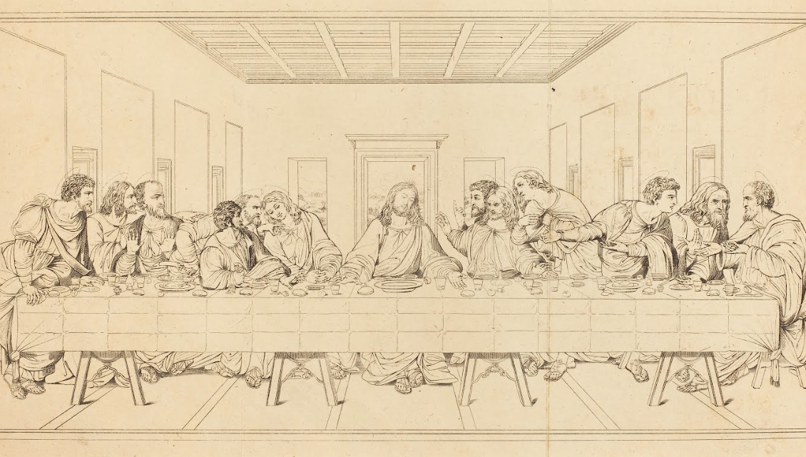 Titre: The Last Supper Créateur: after Leonardo da Vinci Lien externe: For more information about this and thousands of other works of art in the NGA collection, please visit http://www.nga.gov/ Support: etching Object Credit: Rosenwald Collection Classification: Print Artist School: British Artist Nationality: British