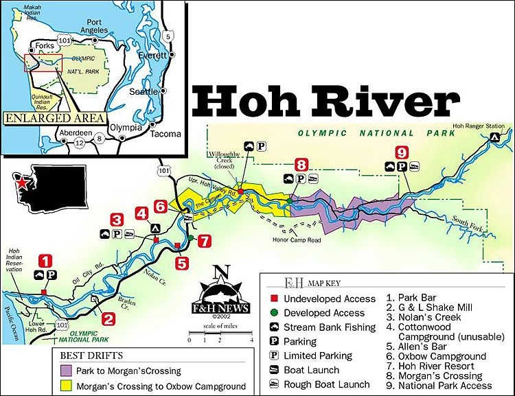 Pix for hoh rainforest map pacific nw forest for Hoh river fishing