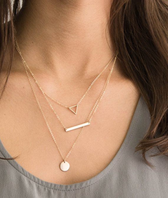 Tiny Floating Triangle Necklace Dainty Little Gold Geometric Etsy In 2020 Gold Triangle Necklace Skinny Bar Necklace Layered Necklaces