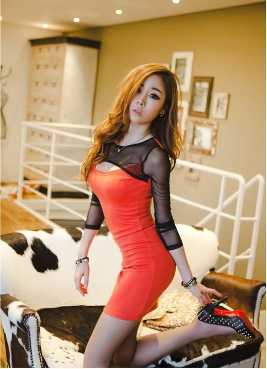 Red Sexy Slim Fitting Asian Style Party Dress With -1259