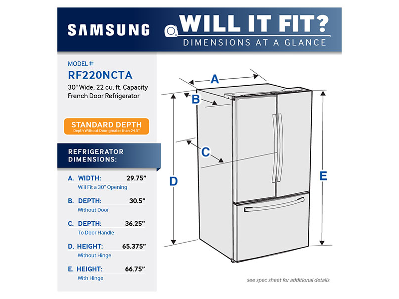 30 Inch Wide Refrigerator 22 Cu Ft In Stainless Steel Rf220nctasr Samsung Us Refrigerator Dimensions French Door Refrigerator Refrigerator Sizes