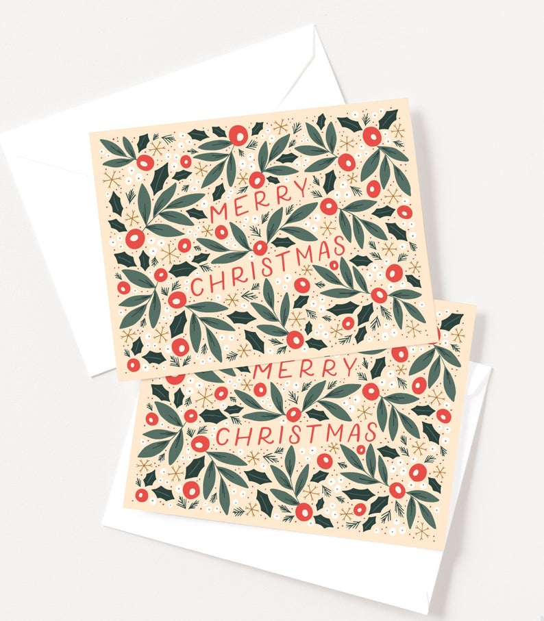 Illustrated Christmas Cards | Floral Hand Lettered Holiday Card Set of 10, Folk Christmas Card Set -   17 illustrated holiday Cards ideas