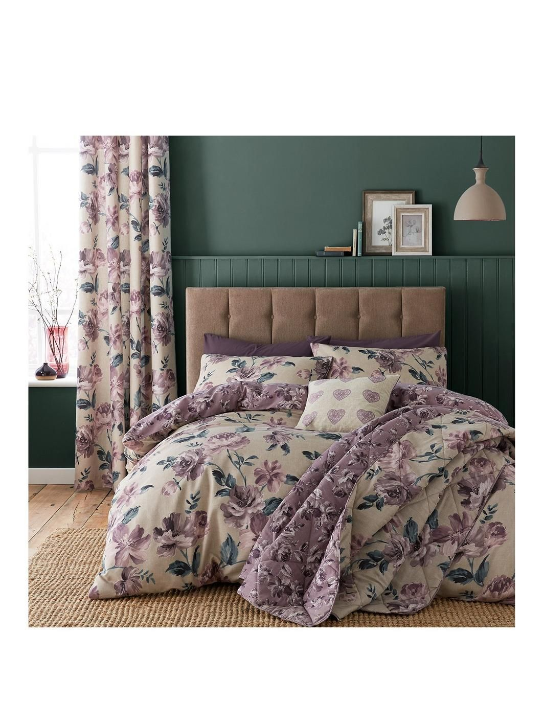 Catherine Lansfield Painted Floral Bedspread Throw in Plum