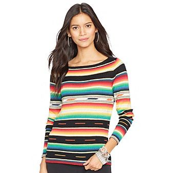 I saw this print in a shell at Macy's. The print is very vibrant. The picture doesn't do it justice. Lauren Ralph Lauren® Long-Sleeved Serape Sweater at www.bonton.com