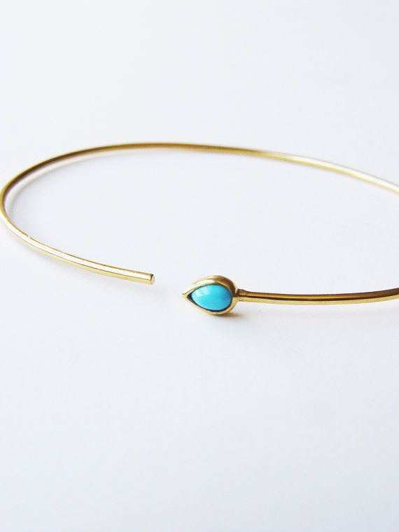 SALE Turquoise Open Gold Bangle OOAK by friedasophie on Etsy