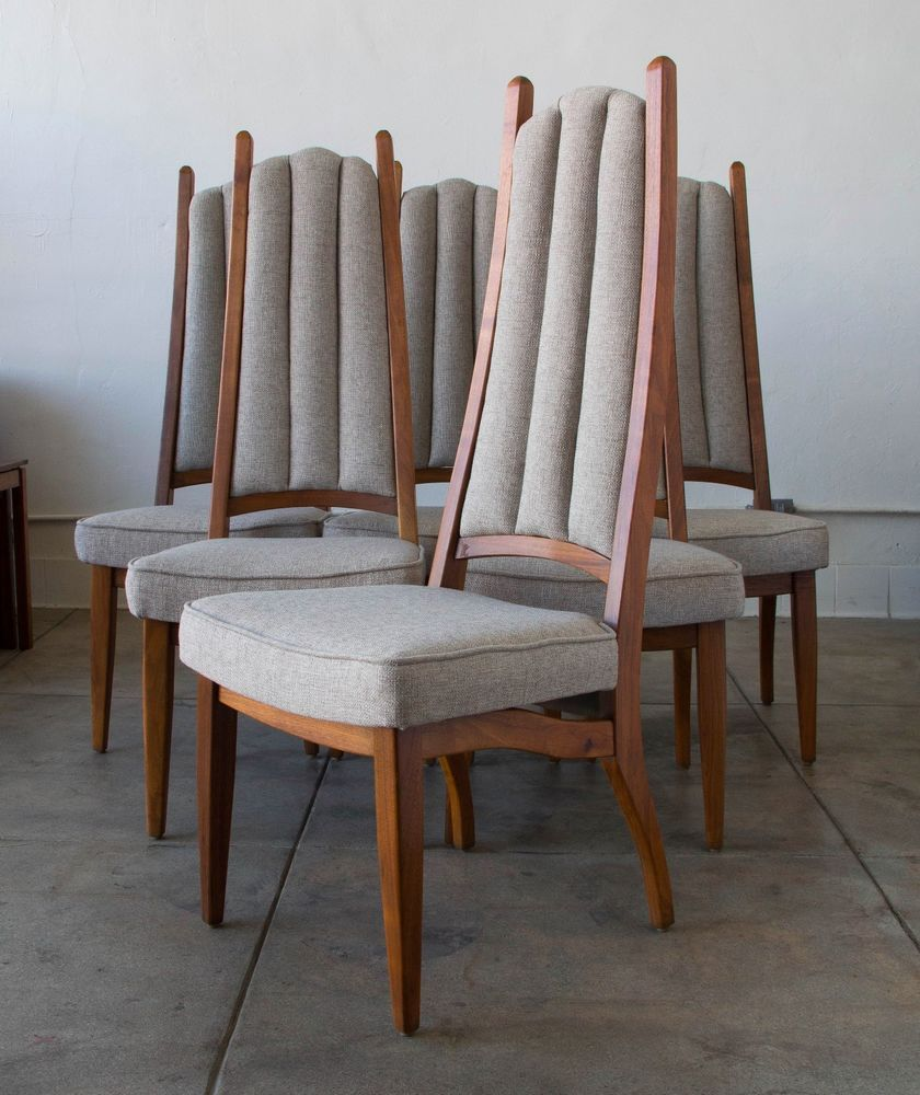 Fabulous Cal Mode Mid Century Modern High Back Dining Chairs Walnut Ibusinesslaw Wood Chair Design Ideas Ibusinesslaworg