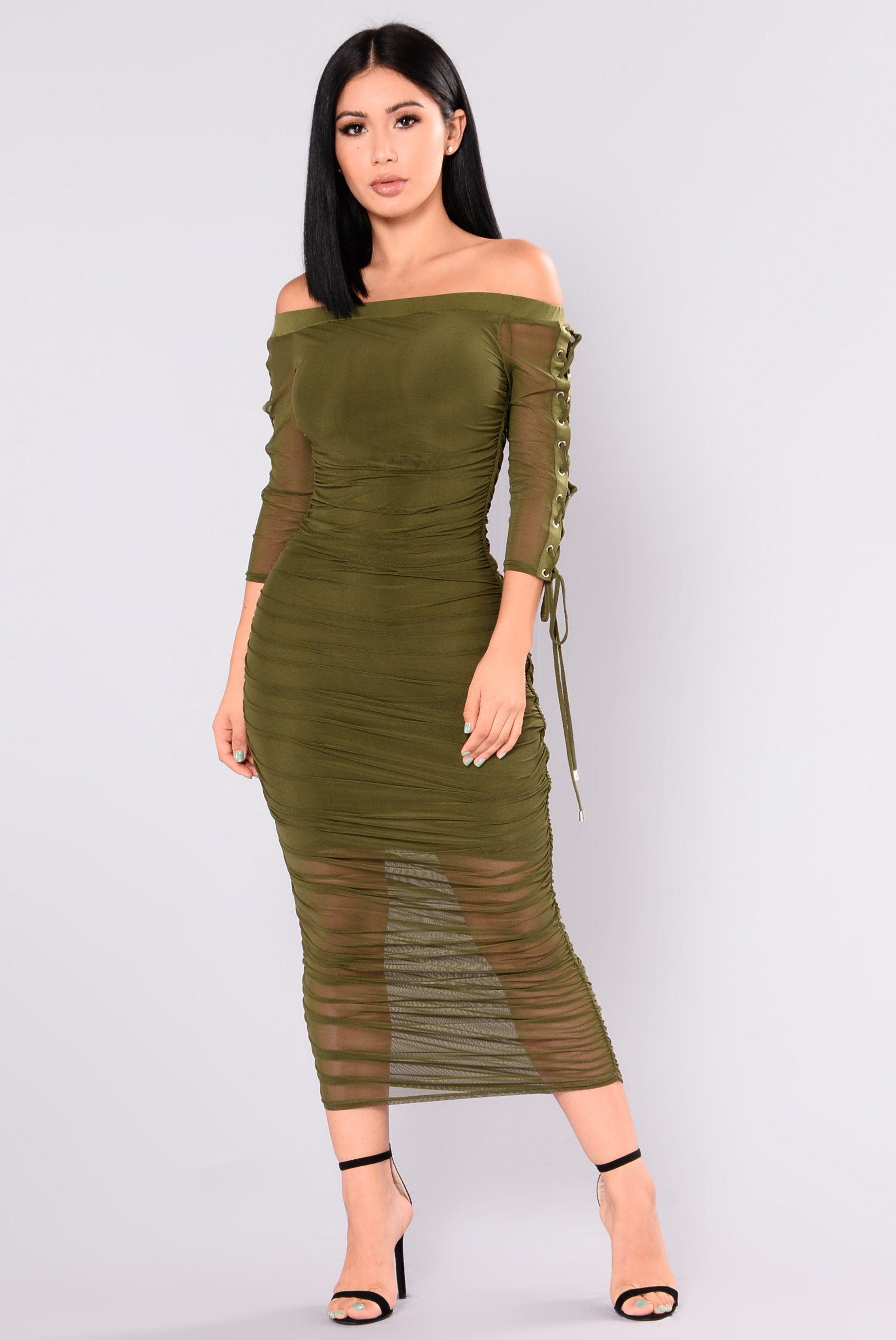10dce811311c Available In Olive Off Shoulder Ruched Dress Half Sleeve Lace Up Detail 95%  Polyester 5% Spandex