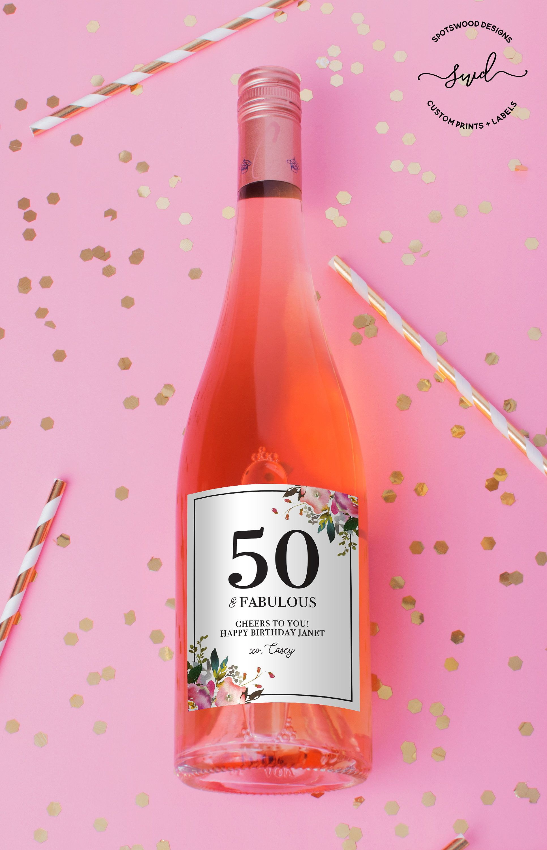 Happy Birthday Custom Wine Label Birthday Gift Fifty And Etsy Custom Wine Labels Bridesmaid Wine Label Happy Birthday Wine Labels