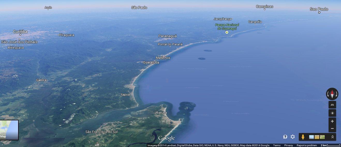 Ubatuba, Brasil. Google Earth