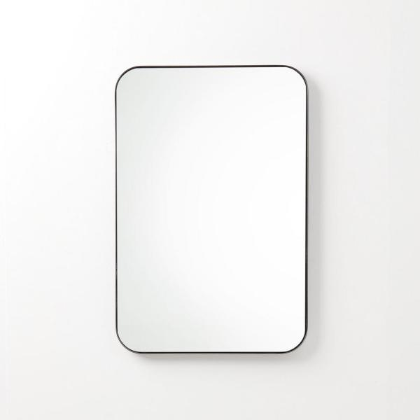 Better Bevel 24 In X 36 In Single Metal Framed Rounded Rectangle Mirror In Satin Black 20017 The Hom In 2020 Rectangle Mirror Metal Frame Mirror Framed Mirror Wall