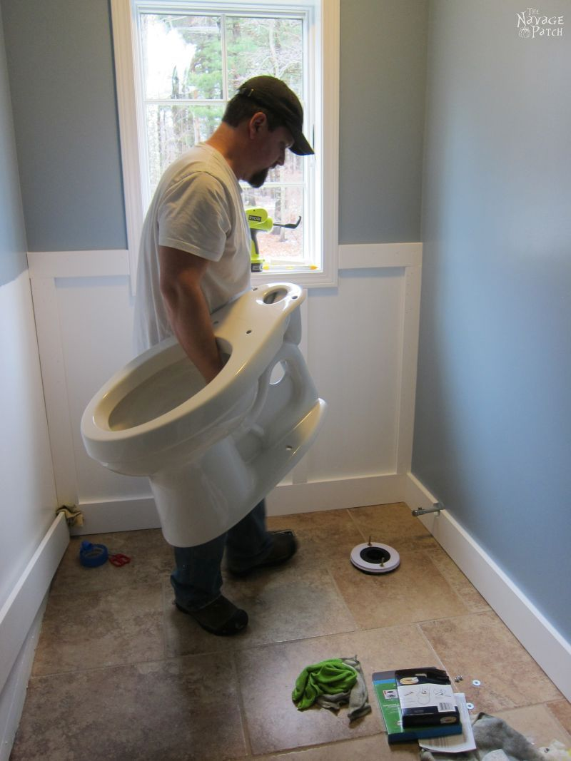 Install A Toilet Guest Bathroom Renovation Part 3 A New Toilet Diy Wainscoting
