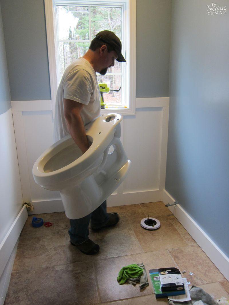 Guest Bathroom Renovation Part 3 A New Toilet Diy Wainscoting