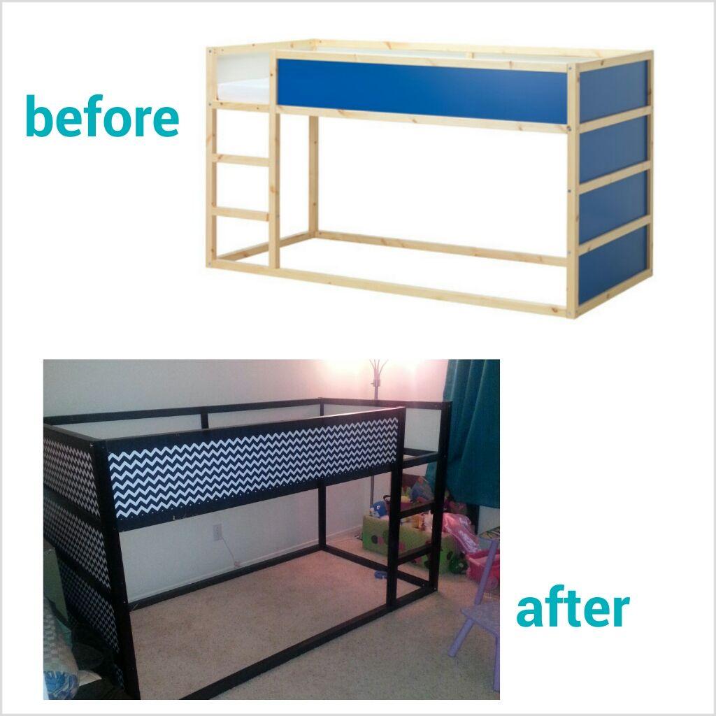 Diy chevron ikea kura bed hack kura bed shared rooms for Kura bed decoration