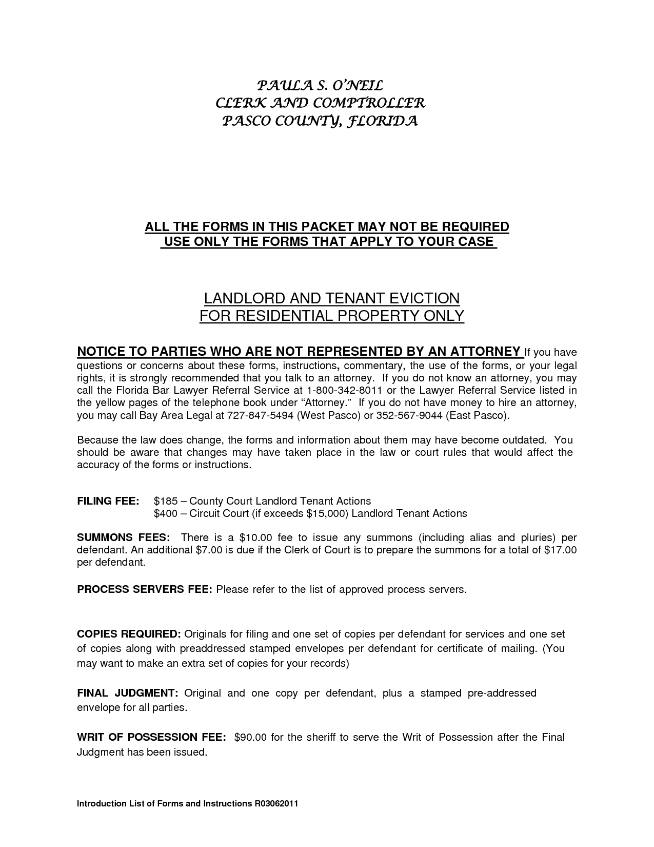 Residential Landlord Tenant Eviction Notice Form by ere72906 – Tenant Eviction Notice Form