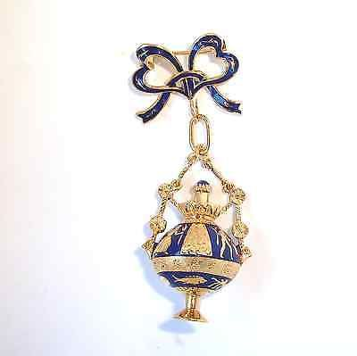 Signed-BREV-Enamel-Solid18K-Y-Gold-Brooch-Pendant-Perfume-Buttle-Fine-Jewelry