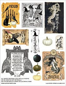 free printable halloween book spines and labels collage sheet - Halloween Printable Book 2