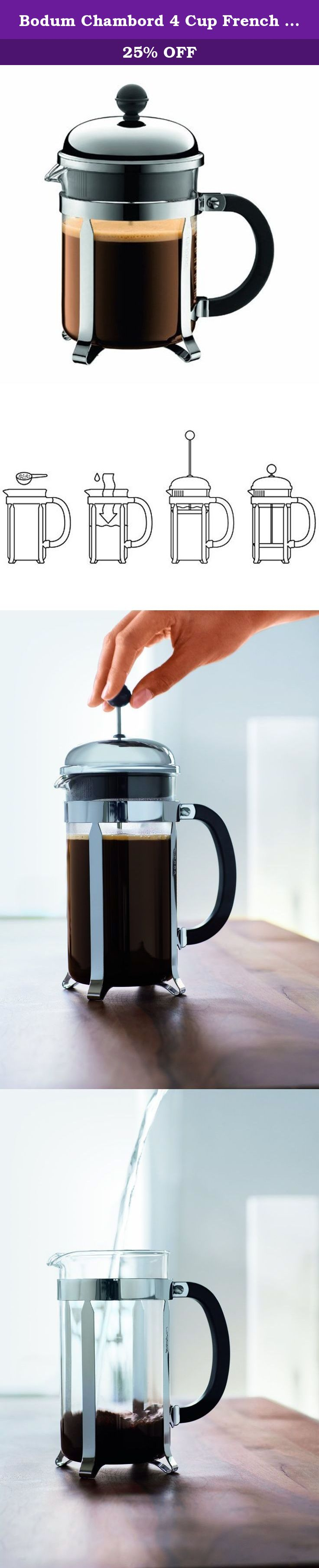 Bodum Chambord 4 Cup French Press Coffee Maker, 17Ounce
