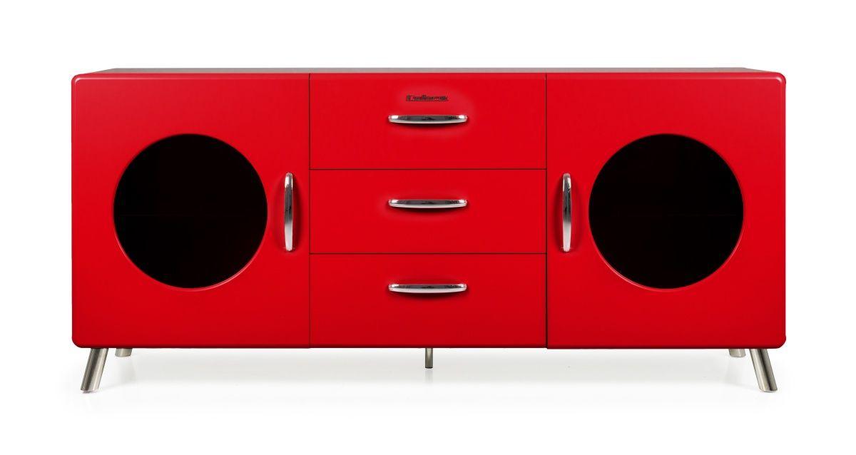 Sideboard Rot Woody 134-00409 Holz Retro Jetzt bestellen unter - bilder wohnzimmer rot