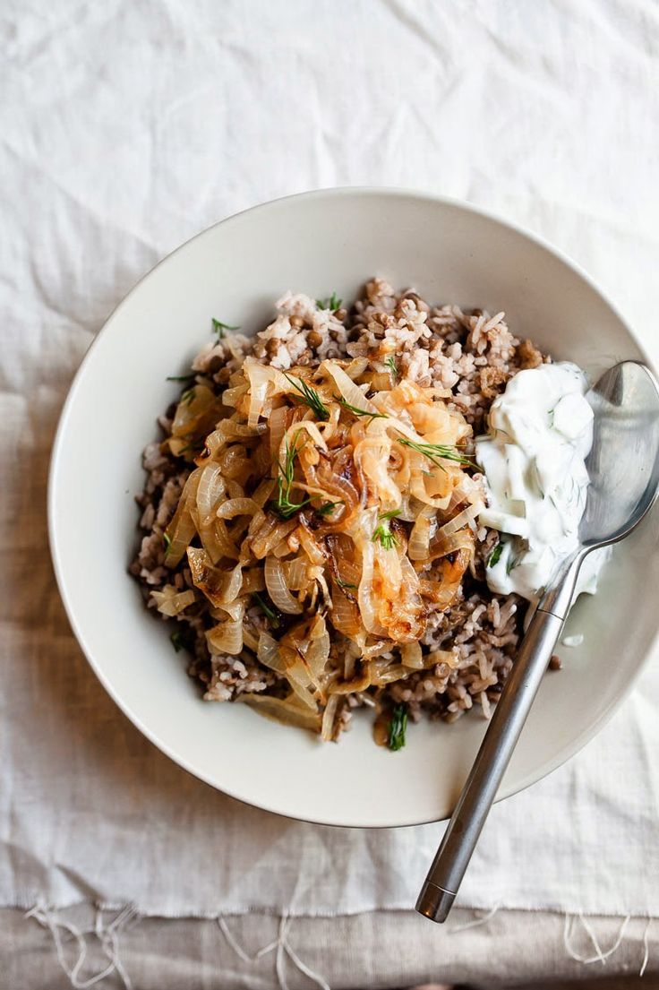 Cocinas Kosher Mejadara Lentil Rice With Caramelized Onions And A Leben