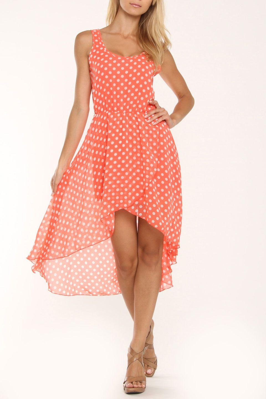 108a36ba1b76 Coral & White Polka Dot Dress | Thinking of Spring | Fashion ...