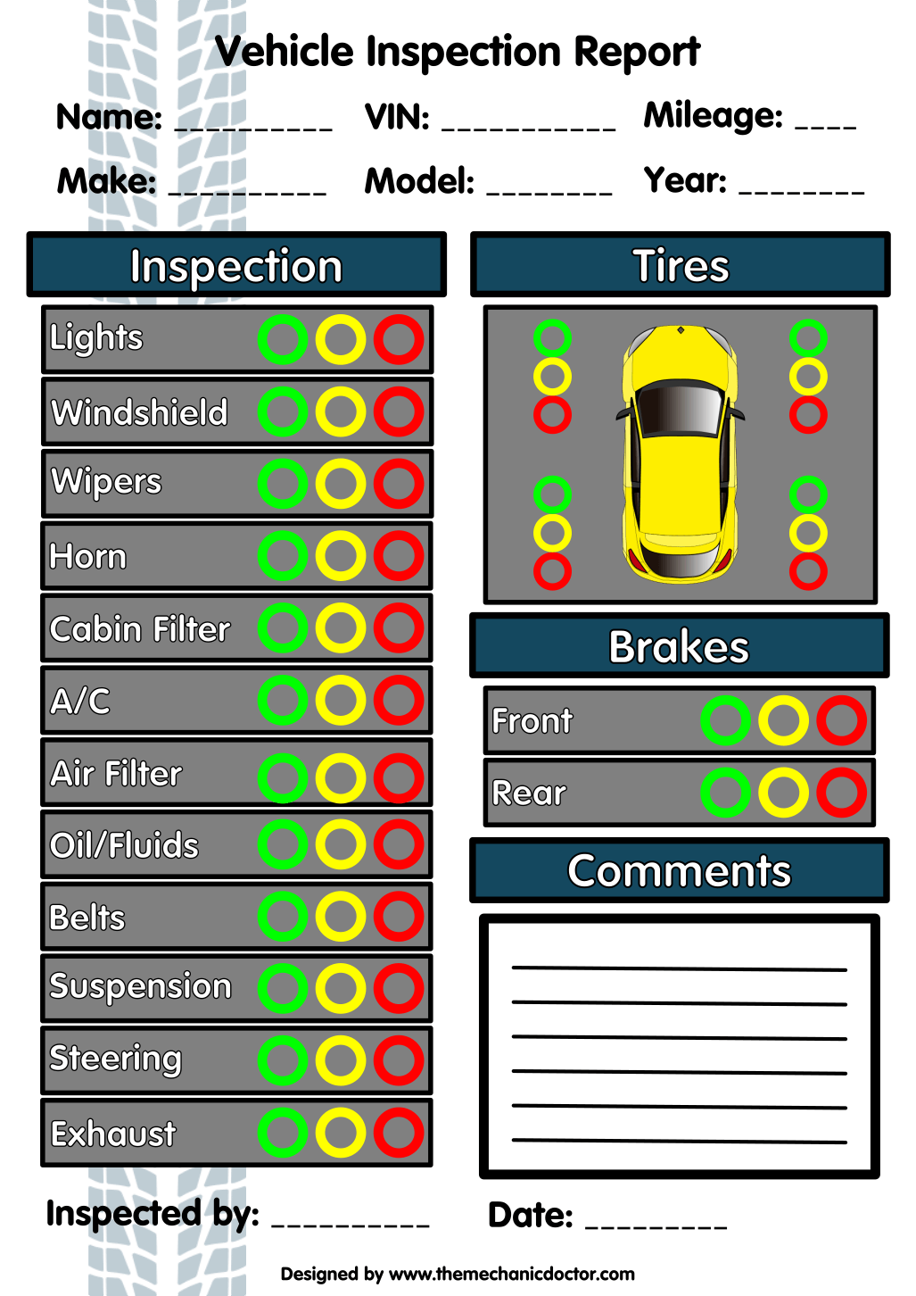 Quick Inspection Report Form  Auto Mechanic Resources