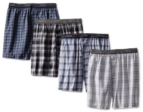 Hanes men's 4 pack yarn dye woven boxer short, exposed waistband blacks/blues