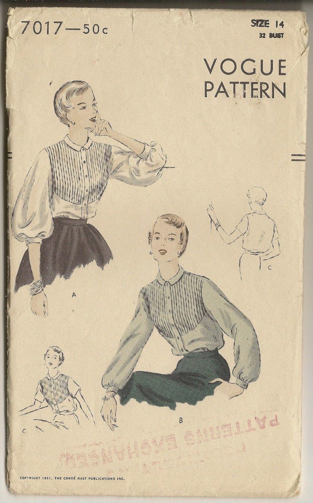 Vogue 7017 (1950) | Vintage Sewing Patterns Community Board | Pinterest