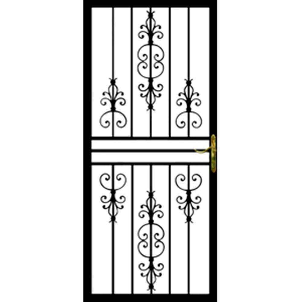 Grisham 36 In X 80 In 108 Series Black Hinge Left Flower Security Door With Self Storing Glass Feature 10821 The Home Depot Security Door Storm Door Security Screen Door