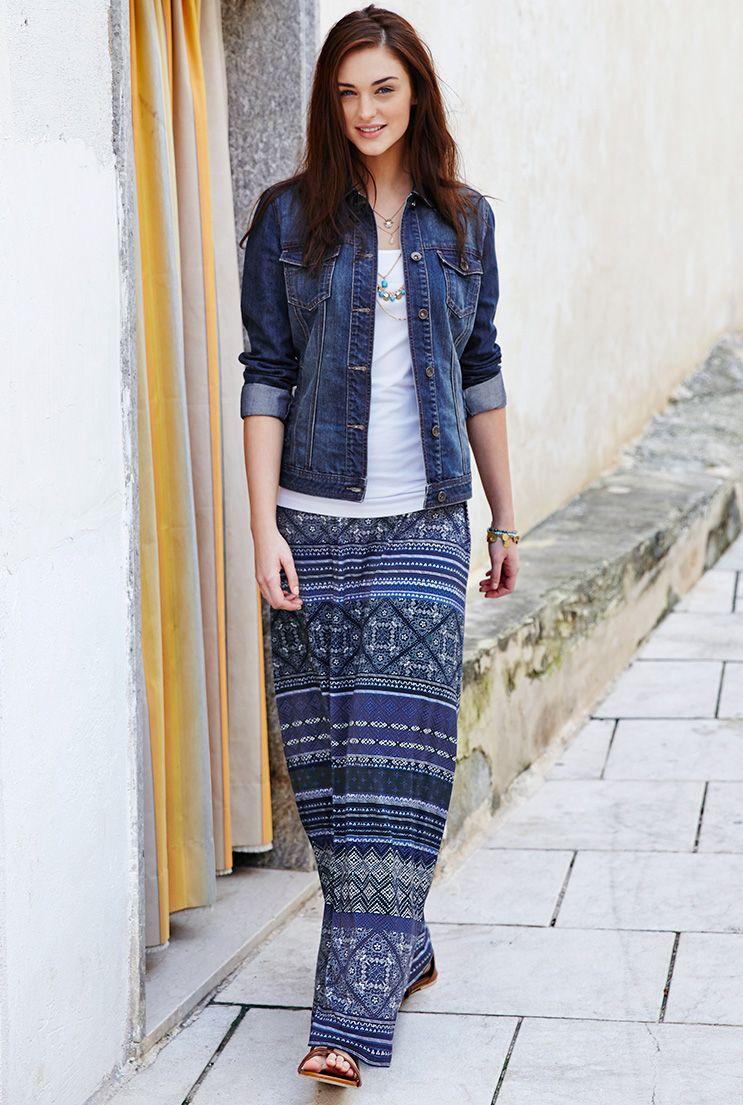 d01d6ae5a6e Moroccan Tile Print Maxi Skirt