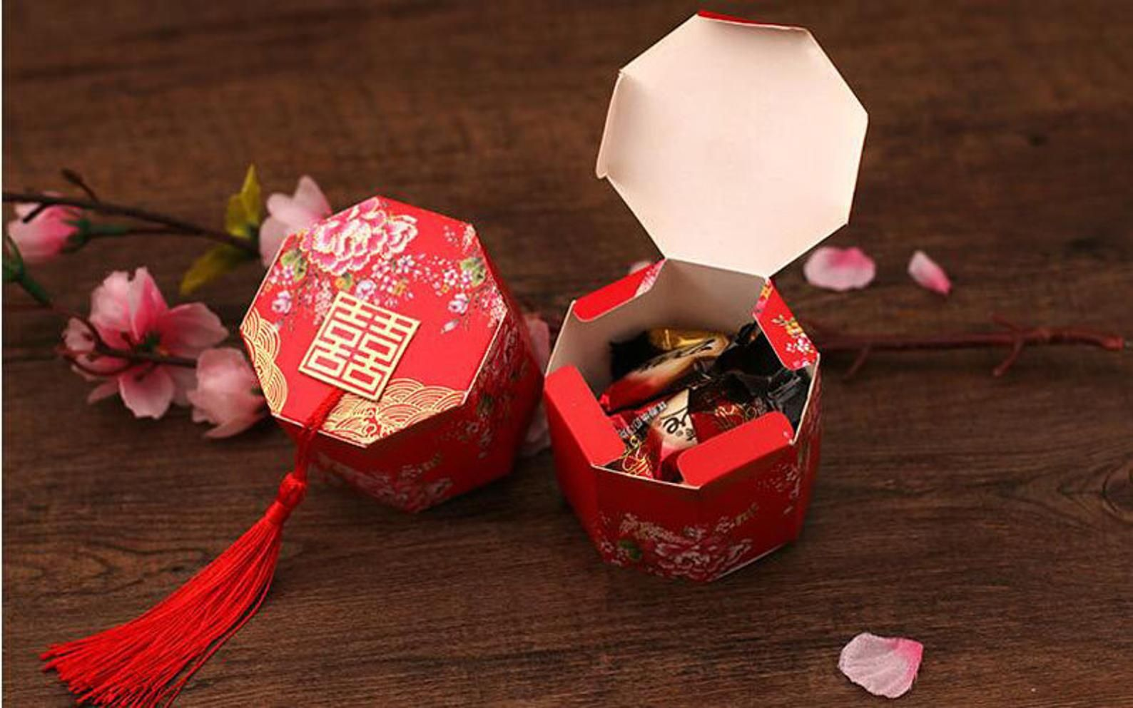 100 X Chinese Asian Style Red Double Happiness Wedding