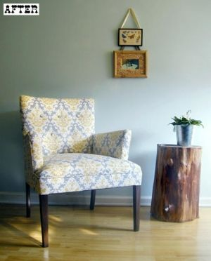 Pretty Upholstered Mustard And Grey Accent Chair Floral Chair