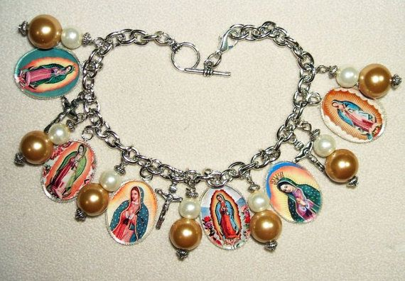 VIRGIN Of GUADALUPE Charm Bracelet Our Lady Altered ART by artalot, $36.99