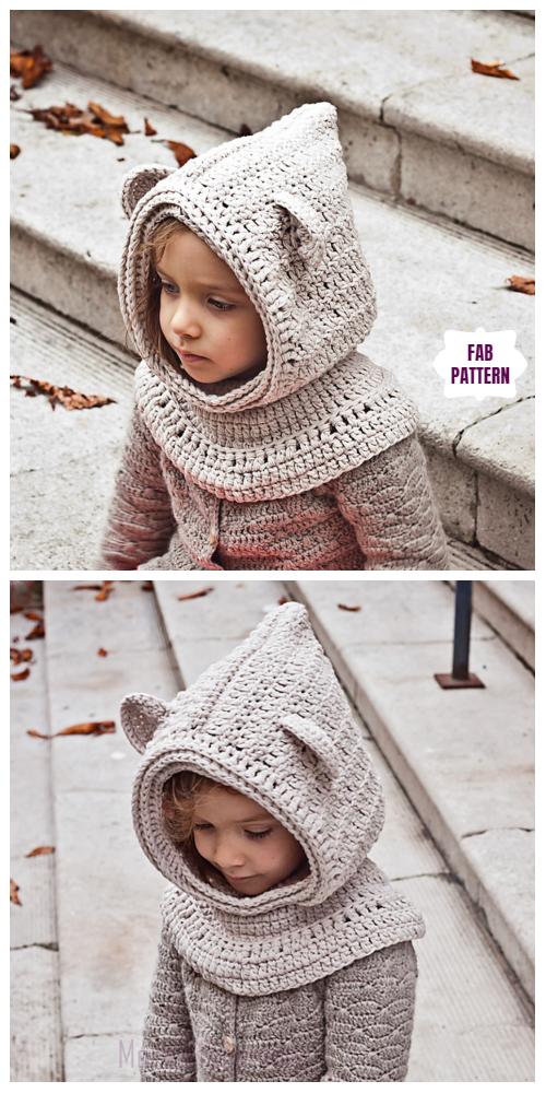 Crochet Bear Hood Free Crochet Patterns #crochetbear