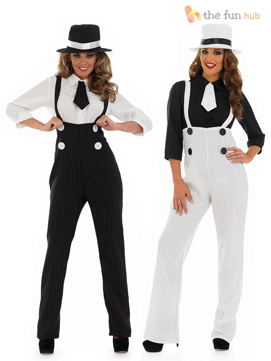 Details about Ladies Pinstripe Gangster Suit Costume Fancy