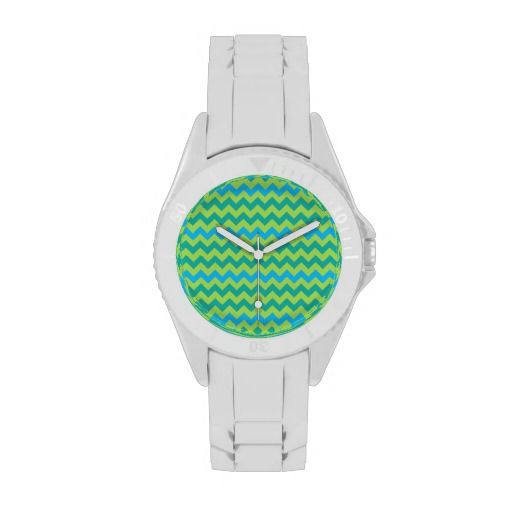 Sporty Wristwatch: Blue and Green Chevrons: up to $56.95 - http://www.zazzle.com/sporty_wristwatch_blue_and_green_chevrons-256672379593546923?rf=238041988035411422
