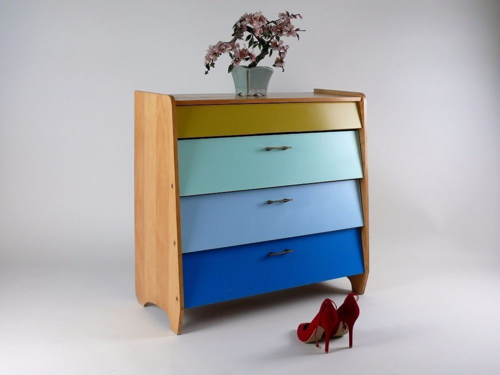 Wohnzimmer Lampe 50er Jahre Mid Century Colorful Shoe Cabinet Drawers Chest