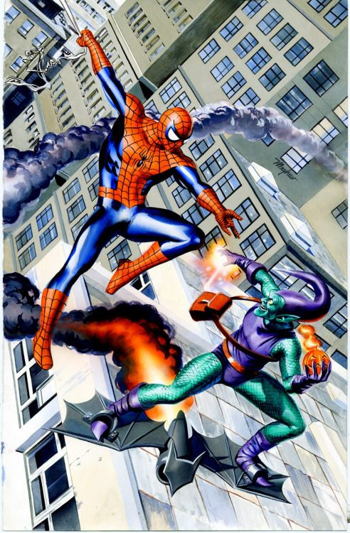 #Spiderman #Fan #Art. (Spider-Man vs Green Goblin painting) By: Mike Mayhew. (THE * 5 * STÅR * ÅWARD * OF: * AW YEAH, IT'S MAJOR ÅWESOMENESS!!!™)[THANK Ü 4 PINNING!!!<·><]<©>ÅÅÅ+(OB4E)
