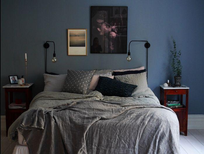 Modele De Décoration Chambre Adulte Peinture Murale Bleu