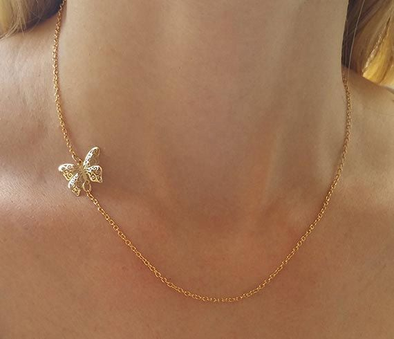 Dainty butterfly necklace charm necklace gold pendant necklace dainty butterfly necklace gold necklace simple by hlcollection aloadofball Choice Image