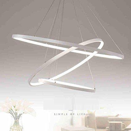 76W 3-Anneaux LED Suspension Moderne Hauteur Réglable Lampe - Hauteur Table Salle A Manger