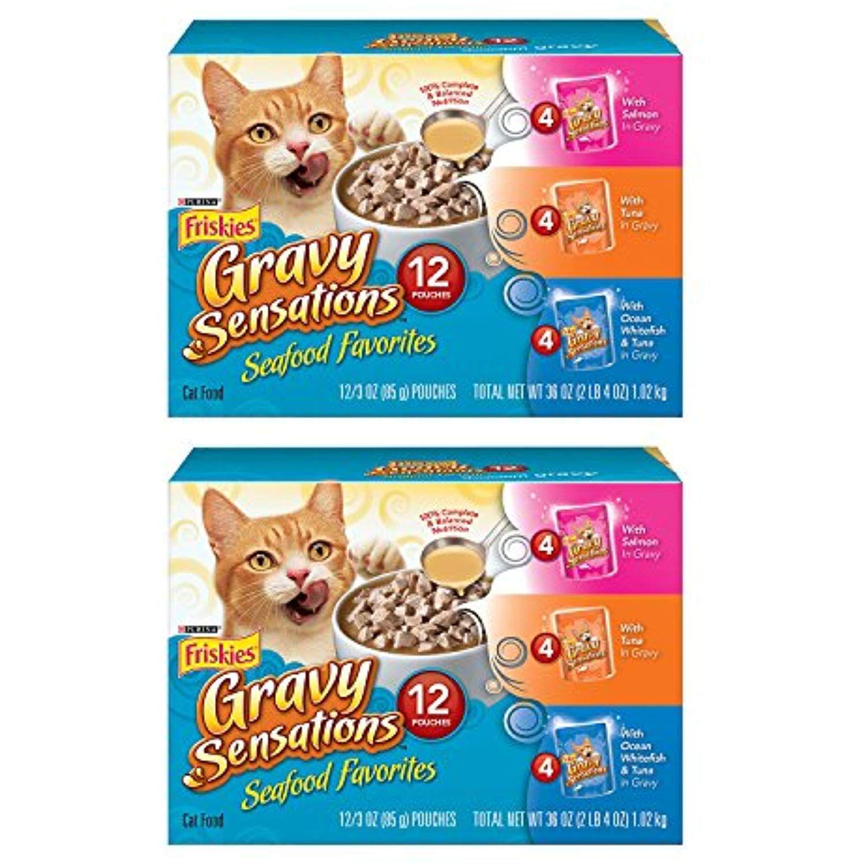 Friskies Wet Cat Food, Gravy Sensations, Seafood Favorites