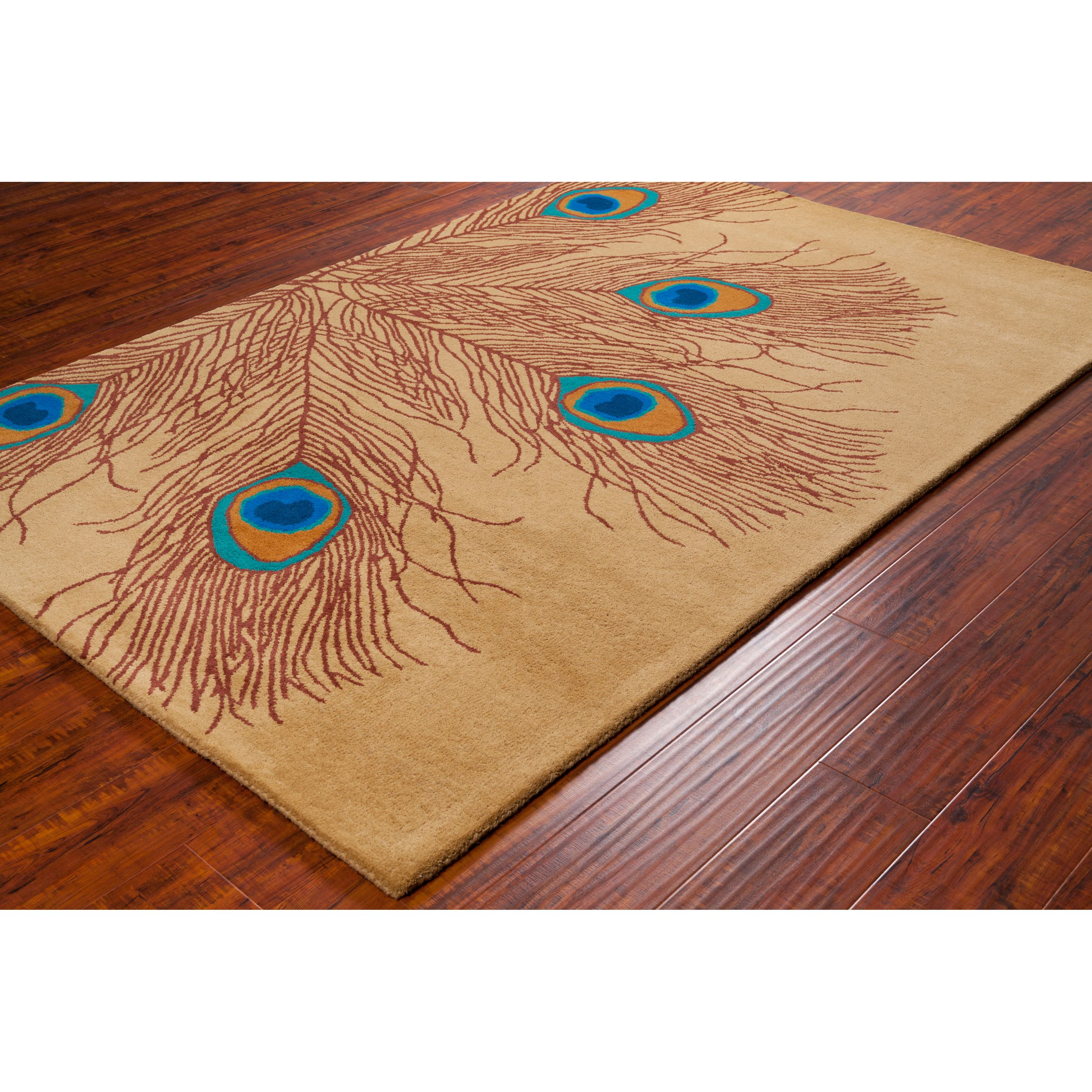 Allie Handmade Peacock Feathers Wool Rug (5' x 7'6) - Overstock™ Shopping - Great Deals on Filament 5x8 - 6x9 Rugs