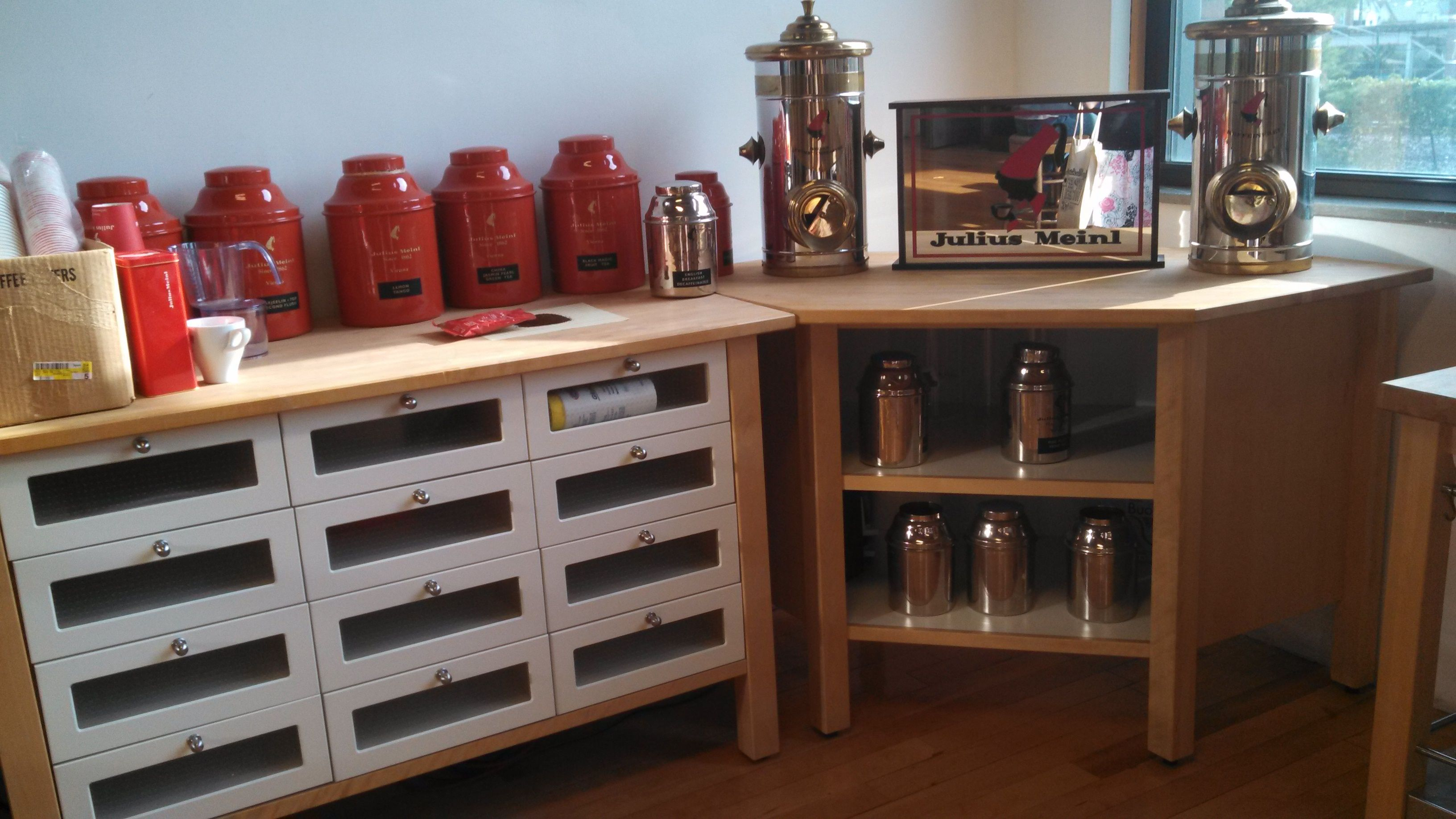 Shelves/coffee stuff. Would be a great place for the Sangria bar if we can clear the tops.