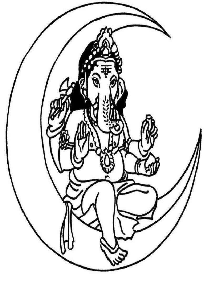 Lord Ganesha Free Coloring Pages For Kids Lord Ganesh Coloring Book Tribal Drawings Om Art Ganesha Art