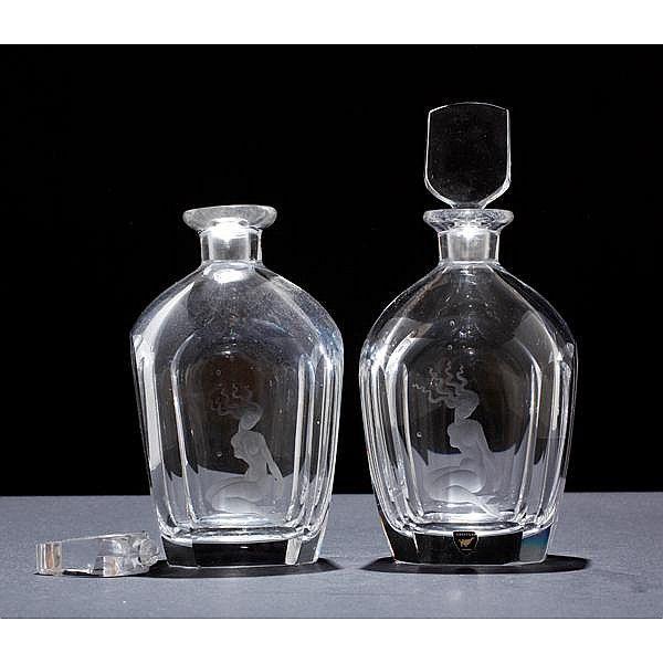 Beautiful Love Want Pair Of Orrefors Scandinavian Art Glass Decanter Bottles Both Engraved With Mermaid D Scandinavian Art Glass Bottles Art Glass Art